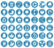 42 ecological icon buttons in vector. Eco-icon with blue color buttons Royalty Free Stock Photo