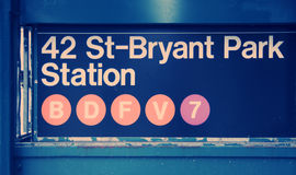 42 St Bryant Park Station Sign. Cross  Processed Stock Photography