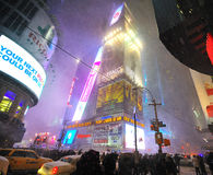 42 street hit by snow storm. A shot of 42 street in the snow blizzard Royalty Free Stock Photography