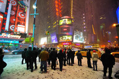 42 street in the snow storm, new york city Royalty Free Stock Image