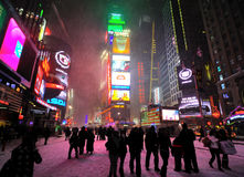 42 street under the snow. A shot of times square in the snow blizzard Royalty Free Stock Photos