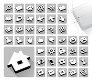 42 web icons set. High res raster. Trendy long shadow. Isometric pseudo 3D. Has vector version Royalty Free Stock Photography