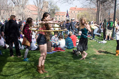 420 day Colorado University. To ladies with hula hoops Stock Image