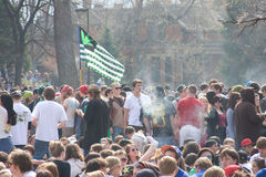 420 day unCrowd of Smoke. University of Colorado 420 day on of the largest events of this kind in the country.  A crowd of student and smoke rising in the air Stock Photography