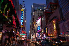 42nd Street. The bright lights of 42nd street in the city that never sleeps -- New York royalty free stock photo