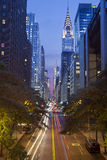 42nd street in Manhattan. Image of the 42nd street in midtown Manhattan, New York City at twilight royalty free stock image