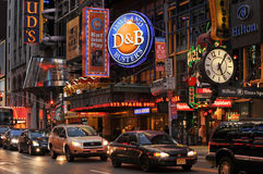 42nd street, New York. Broadway shows around 42nd street, New york royalty free stock photography