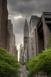 42nd Street, NYC. View of 42nd Street and Chrysler Building from the east side royalty free stock image