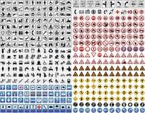 430 vektorverkehrsschilder Stockfoto