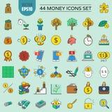44 εικονίδια χρημάτων καθορισμένα και οικονομικά και επένδυση απεικόνιση αποθεμάτων