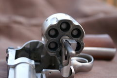 44 magnum. Single shot revolver with bullet tips showing through cylinder royalty free stock photo