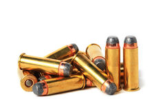 44 Magnum ammo. Close up on white background Stock Photography