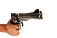 44 Magnum Handgun Revolver isolated. Stainless steel 44 Magnum Handgun Revolver isolated Royalty Free Stock Photo