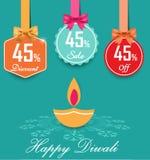 套与弓和丝带样式销售标记的45%销售和折扣平的颜色标签设计, 45  免版税图库摄影