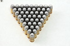 45 45auto ammo. This is a photography of 45 rounds of .45auto bullets.  They are handloaded precision bullets as near identical as possible, assembled by myself Stock Images