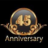 45 anniversary happy birthday. Gold Royalty Free Stock Photos