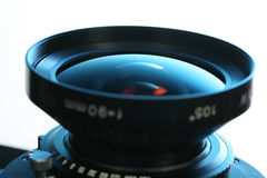 45 camera lens. 105mm 45 camera lens with blue back-light Stock Photo
