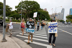45 upptar anti apec honolulu protest Arkivfoto
