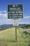 45th Parallel sign. A sign that reads 45th Parallel stock images