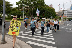 46 upptar anti apec honolulu protest Arkivbild