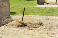 465 Flying sand as the Horseshoe ringer is made. Stock Images