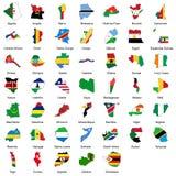 47 afrikanska landsflaggor Arkivbilder