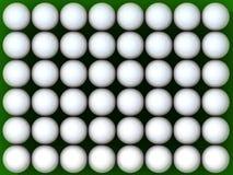 48 Golf ball. 48 perfect golf balls over green Stock Photos