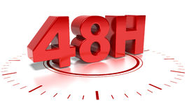 48 H shipping. 48H text over white background with clock - the words are in 3d Stock Photography