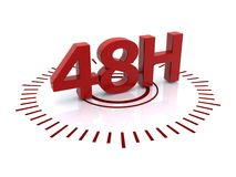48 hour clock. In red and black Royalty Free Stock Images