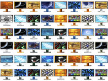 48 monitors in original size 500x500 each. 48 monitors with different images in original size 500x500 each Stock Image