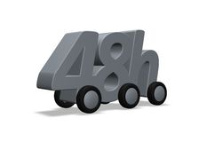 48h delivery. 48h on wheels - 3d illustration Stock Images