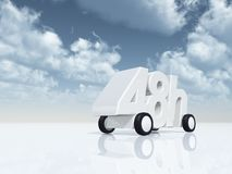 48h on wheels. 3d illustration Stock Photography