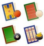 49b elementów projektu ustalonymi sportfields ikony ilustracji