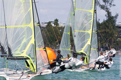 49ers crowd the mark at ISAF World Sailing Cup Miami (2013) Royalty Free Stock Photos