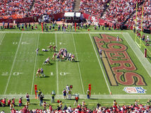 49ers vs Patriots during a play at Candlestick royalty free stock photography