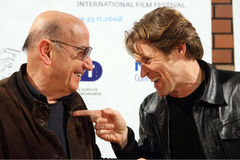 49th Thessaloniki Film Festival. THESSALONIKI,GREECE - NOV,22: Director Theodoros Angelopoulos (L), Willem Dafoe (R) during press conference of  49th Stock Photo