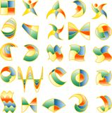 4color. Vector abstract signs in four basic colors royalty free illustration