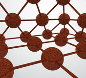 4D network spheres. Abstract details of a 4D nework where the connecting point and the connections between them are dark red, brown Royalty Free Stock Photo
