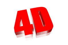 4D red. The four dimensions used in movie theaters and more Stock Images