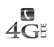4G LTE telecommunication. Illustration with phrase 4G LTE on white background vector illustration