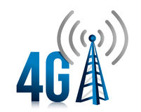 4G speed tower connection illustration design. Over white Stock Photos