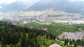 4k aerial shot of Mestia and mountains stock footage