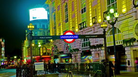 4K Amazing London Picadilly Circus Underground Sign Quad Ultra HD Hyper Time Lapse. Royalty Free Stock Photos