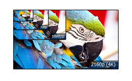 4K television display. With comparison of resolutions. Ultra HD on on modern TV royalty free illustration