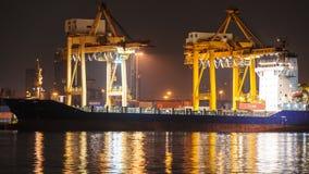 4K Time-lapse, Big Crane Bridge Shipping Container. Stock Images