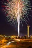 4th av Juli fyrverkerier i Denver Royaltyfri Fotografi
