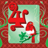 4th Day of Christmas. Vector Illustration Card for the 12 days of Christmas. Four Calling Birds Stock Photography