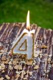 4th födelsedagstearinljus Fotografering för Bildbyråer