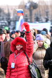 4th of February 2012. Meeting on Victory garden. 4th of February 2012, Moscow, Russia. Meeting for supporting of V.V.Putin, the candidate for president of Russia Stock Photography