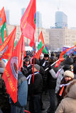 4th of February 2012. Meeting on Victory garden. 4th of February 2012, Moscow, Russia. Meeting for supporting of V.V.Putin, the candidate for president of Russia Stock Photo